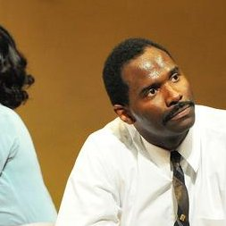 Triad Stage - Pictured: Lakisha May as Camae & Cedric Mays as Dr. Martin Luther King, Jr. Photo by Jon Gardiner
